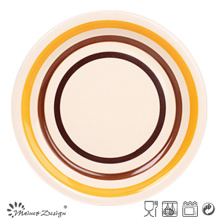 Orange and Brown Circles Stoneware Dinner Plate