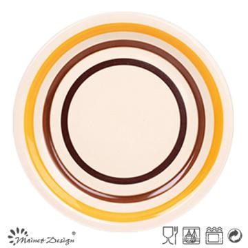 Assiette à dîner en grès cérame orange et marron