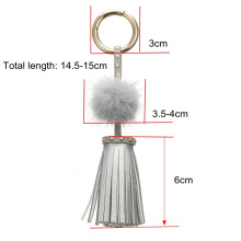 Leather Tassels Keychain with Mink Fur Ball and Rivet Keyring for Bags Purse Keys