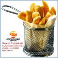 "Assorted cheese sticks strainers stainless steel single mesh fine sturdy baskets 8-1/2"" diameter fryer baskets"