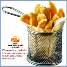 """Varas de queijo variados cestos de aço inoxidável de malha única cestas resistentes finas 8-1 / 2 """"cestas de fritadeira de diâmetro"""