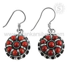 Aristocrática jóia de pedras preciosas de coral vermelho 925 brincos de prata esterlina jóia de prata indiana