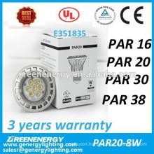 High quality & Best price 8w dimmable Par20 led bulb light led spot light