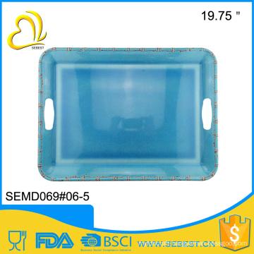 Creative fashion melamine square handle large serving tray