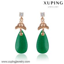 91727 Fashion fantaisie CZ diamant or rose couleur imitation bijoux boucle d'oreille