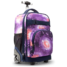 Good Quality School Overprint Polyester Aluminium Pipe Tote 19 inch Rolling Trolley Wheels Backpack Bags  For Children