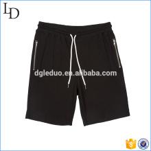 Calça preta zip bolso homens shorts calças suor ginásio shorts atléticos