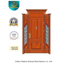 Porta de aço de segurança estilo clássico com escultura e ferro (B-9009)