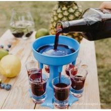 Hot Selling Splitter 6 Shot Glass Dispenser and Holder Party Wine Divider Injection ABS Plastic Box Customer Logo Moulding 2pcs