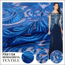 Hecho en China diseño azul clásico del bordado de la manera del azul de Tulle