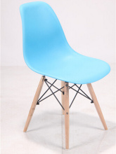 Eames Plastic Chair with Metal Frame and Wooden Legs