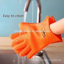 Großhandel benutzerdefinierte Antihaft-wasserdichte Silikon Hitzebeständige Küche Handschuhe / Silikon Grill Ofen BBQ Handschuh / Ofen Mitt