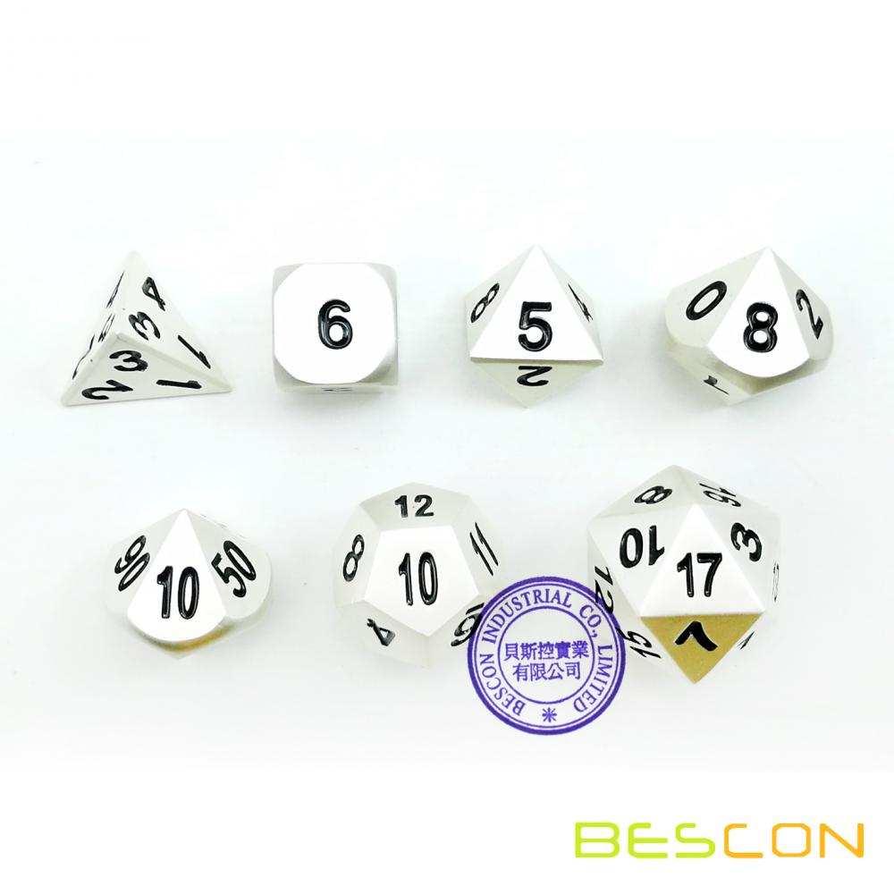 Bescon RPG Metal Dice Set of 7 Matt Pearl Silver Effect Solid Metal Polyhedral RPG Role Playing Game Dice 7pcs Set