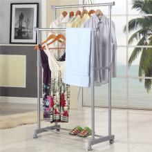 DIY Doble-Rod extendido Telescópico Rolling Closet Garment Rack