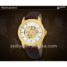 Fashion Mechanical Movt Leather Skeleton Watch for Man (DYA80045)