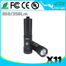 Popular LED Diving Backup flashlight 18650 battery