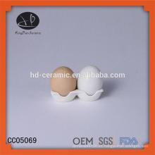 Forma de huevo con embalaje, agitador de sal y pimienta, sal de cerámica y agitador de pimienta