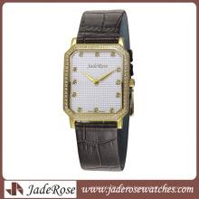 2016 heißer Verkauf Mode Satinless Steel Watch mit Lederband