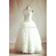 2016 бисероплетение ruched рукавов свадебное платье тюль свадебные платья