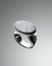 David Yurman Pave Diamond DY Signature Oval Ring