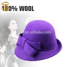New Fashion Elegant Purple 100% Wool Lady Felt Fedora Hat
