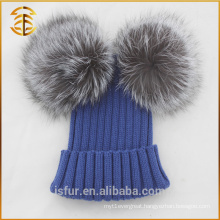 Natural Fashion Genuine Skiing Pom Pom Fox Fur Beanie Hat