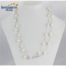 Sterling Silber 9-10mm Edsion hochwertige klassische Perlenkette