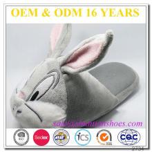 Nouveau design animal long oreille bunny design animal pantoufle pantoufle chaussures pour enfants