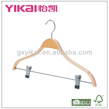 Laminated wooden shirt hanger with notches and metal clips for trousers