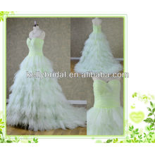 2014 neue Art grüne Tüll Brautkleid mit Sweathreat Ausschnitt