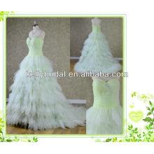 2014 новый стиль зеленый тюль свадебное платье с декольте sweathreat