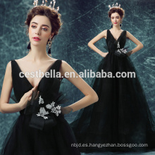 2015 Estilo de moda europea Backless de lujo vestido de noche Negro