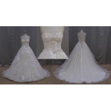 Vestido de casamento de perolização feito à mão completa da correia do laço