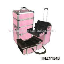 casos de profesionales carretilla cosmética rosa