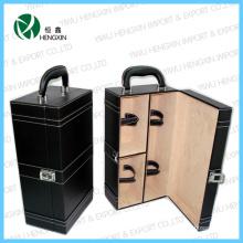 Faux Leather 2 garrafas de vinho Armazenamento caixas de embalagem (HX-PW012)