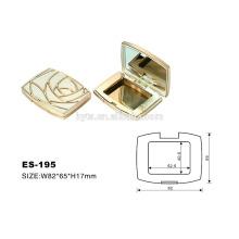 caso quadrado do pó compacto plástico da cor do ouro da forma quadrada