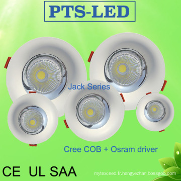 5W-50W CREE Chip Osram Philips pilote courbe visage Embeded LED Downlight avec UL SAA