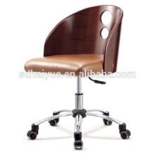 2017 горячей продажи коричневый кожаный поворотный компьютер стул деревянный стул офиса