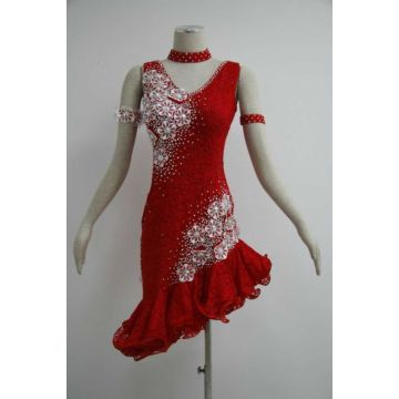 Fringe latin dance dress for jenter