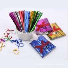 Pre-cut 10cm 16cm 22cm metallic twist tie for Cello Candy Bag Fasteners Lollipop Cake Pack
