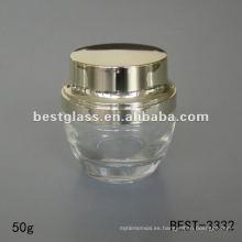 50 g tarro de crema de vidrio transparente con tapa de plástico dorado brillante