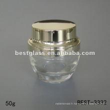 Pot de crème de verre clair 50g avec bouchon en plastique doré brillant