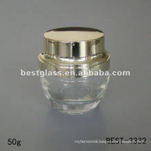 50g clear glass cream jar with shiny golden plastic cap
