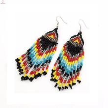 Embellir unique long lourd tous les types africains perle de rocaille pendaison boucles d'oreilles bijoux