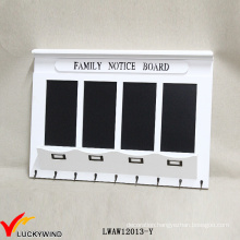 Family Notice Board Vintage White Wooden Wall Rack Blackboard