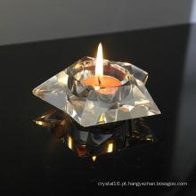 Castiçal de vidro de cristal quadrado agradável na moda