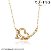 43087 Xuping Jóias Preço especial em forma de Amor colar banhado a Ouro para o amante especial