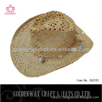 ladies paper straw cowboy hat handmade fashion design unisex
