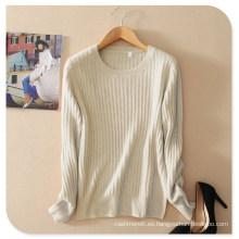 Suéter de cachemira pura Las mujeres de nuevo diseño jersey de punto de color sólido con manga larga O cuello
