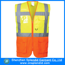 Custom High Visibility Traffic Safety Reflective Work Vest with Pockets